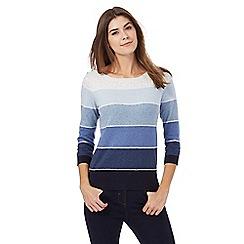 Maine New England - Dark blue textured striped print jumper
