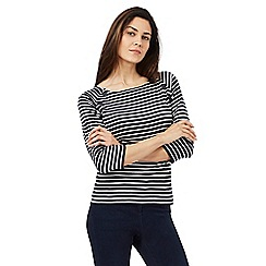 Maine New England - Navy striped three quarter length sleeve top