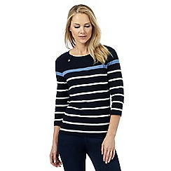 Maine New England - Navy striped print top