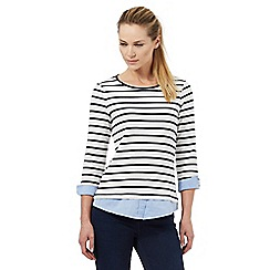 Maine New England - Navy chambray trim striped print top