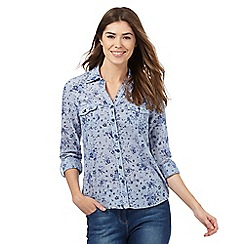 Maine New England - Blue floral print shirt