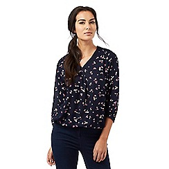 Maine New England - Navy floral print bubble hem top
