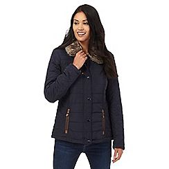 Maine New England - Navy quilted faux fur collar jacket