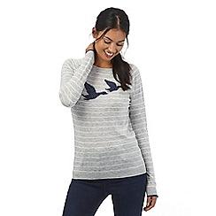 Maine New England - Light grey duck intarsia jumper