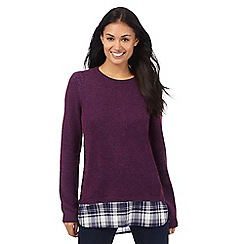 Maine New England - Dark purple mock jumper with wool