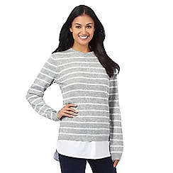 Maine New England - Light grey striped print mock jumper with wool