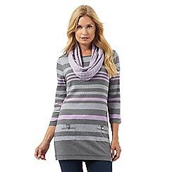 Maine New England - Dark grey striped tunic and snood set