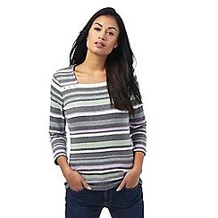 Maine New England - Multi-coloured striped print button applique top
