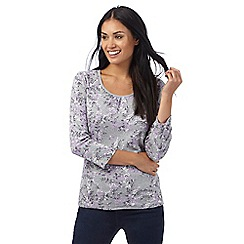 Maine New England - Grey three quarter length sleeve painterly floral print top