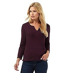 Maine New England - Dark purple embroidered notch neck top