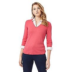 Maine New England - Pink mock collar shirt