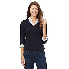 Maine New England - Navy mock collar long sleeve shirt