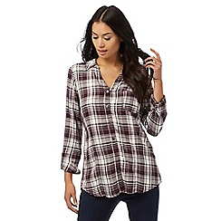 Maine New England - Dark purple checked print shirt