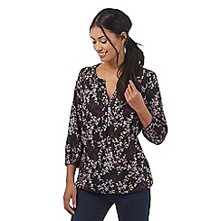 Maine New England - Black floral drawstring hem top