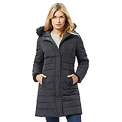 Maine New England - Dark grey faux fur hood trim padded coat