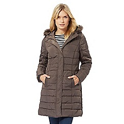 Maine New England - Taupe faux fur hood trim padded coat