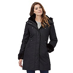 Maine New England - Black hooded fur trim coat