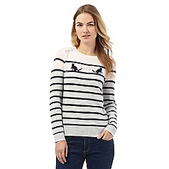 Maine New England - Pink striped cat print jumper