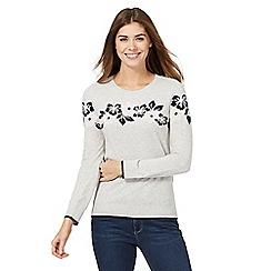 Maine New England - Light grey flower knitted jumper