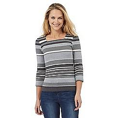 Maine New England - Grey sparkle striped top