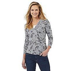 Maine New England - Grey floral paisley print pleated V neck top