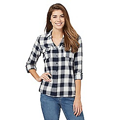 Maine New England - Navy button-down check print shirt