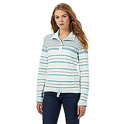 Maine New England - Light turquoise striped funnel neck sweater top