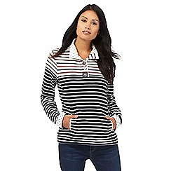 Maine New England - Navy funnel neck striped print sweatshirt