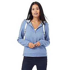 Maine New England - Mid blue quilted panel hoodie