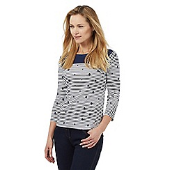 Maine New England - Navy spot and striped print top