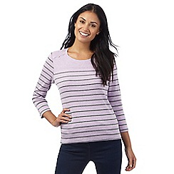 Maine New England - Lilac three quarter length stripe and button top