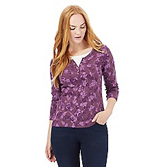 Maine New England - Purple three quarter sleeved floral print notch top