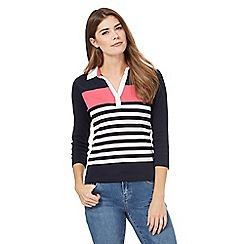 Maine New England - Pink striped collar top