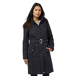 Maine New England - Navy blue quilted belted coat