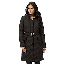 Maine New England - Black quilted belted coat