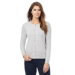 Maine New England - Grey contrasting trim buttoned cardigan