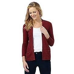 Maine New England - Dark red ribbed insert cardigan