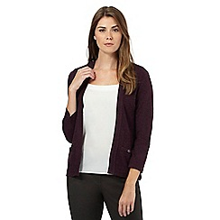 Maine New England - Dark purple ribbed insert cardigan
