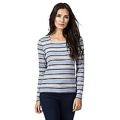 Maine New England - Blue striped print top