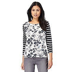 Maine New England - Off white striped floral print top
