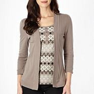 Taupe mock 2 in 1 circles top