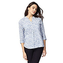 Maine New England - Blue floral print utility shirt