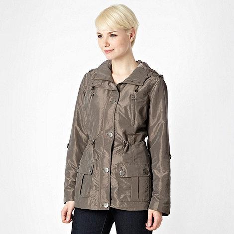 Maine New England - Taupe shimmer parka jacket - size 18