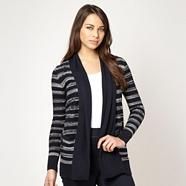 Navy space dye striped cardigan