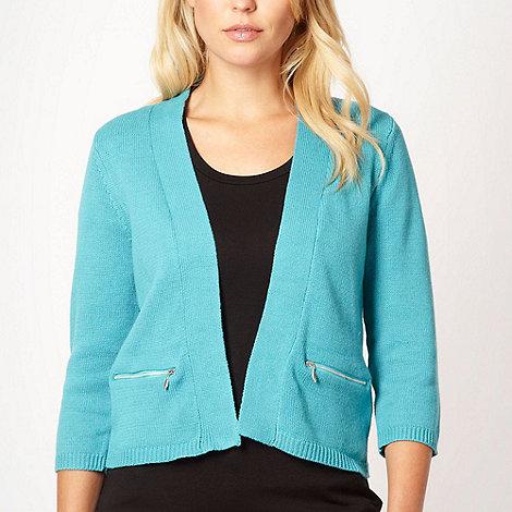 Maine New England - Turquoise short plain knit cardigan