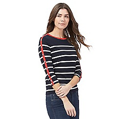 Maine New England - Navy long sleeve stripe top