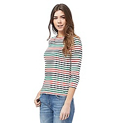 Maine New England - White long sleeve stripe top