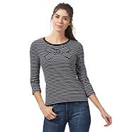 Navy slash neck fleck striped jumper