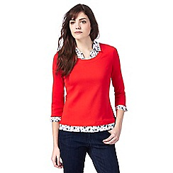Maine New England - Red spot print mock collar top