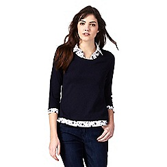 Maine New England - Navy spot print mock collar top